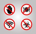 Prohibition Signs and Various warning sign icon Symbol Sign Isolate on White Background,Vector Illustration Royalty Free Stock Photo
