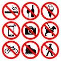 Prohibition symbols set.