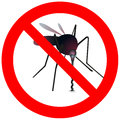 Prohibitory road sign with mosquito Stock Photos