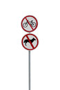 Prohibitory road signs traffic forbidden by regulations Stock Images