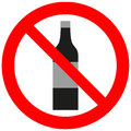 Prohibitory sign with an alcohol bottle Stock Images