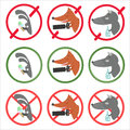 Prohibitory signs and allow for different occasions hare holding ice cream fox making photos wolf drinking alcohol Royalty Free Stock Photo