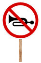 Prohibitory traffic sign - Sound signal Royalty Free Stock Photo