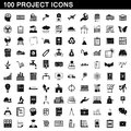 100 project icons set, simple style