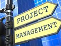Project management business concept words on yellow roadsign on blue urban background d render Stock Photos