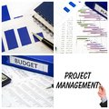 Project management collage with four concept photos Royalty Free Stock Image