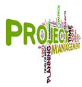 Project management concept in word tag cloud Royalty Free Stock Photos