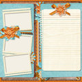 Project page family album in retro style digital scrapbook templates Royalty Free Stock Photos