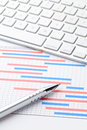 Project plan gantt charts with computer keyboard on working desk Royalty Free Stock Photography