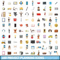 100 project planning icons set, cartoon style