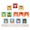 Project team organization vector illustration of flat avatars Stock Photo