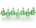 Project word gears people working together accomplish task a team of work walking on with letters spelling the to illustrate Royalty Free Stock Image