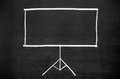 Projection screen empty the drawn on blackboard Stock Photo