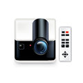 Projector with remote control on white background Royalty Free Stock Images