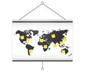 Projector screen map world and note Stock Images