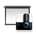 Projector screen with projector on white background Royalty Free Stock Photos