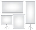 Projector screen and roll up banner illustration Stock Photo