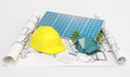 Projects for ecological house with solar panels, 3d render Royalty Free Stock Photo