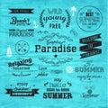 Projeto do vetor do crachá das férias de verão da tipografia Fotos de Stock