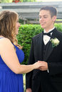 Prom Boy Holding Hand of Girlfriend Stock Images