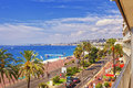 Promenade d anglais english promenade in nice france balcony august summer aerial view to the west from the Royalty Free Stock Photography