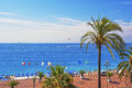 Promenade d anglais english promenade in nice france bay vie august summer aerial view and beach view Stock Photography