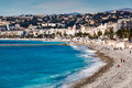 Promenade des anglais and beautiful beach in nice french riviera france Royalty Free Stock Image