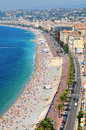Promenade des anglais in nice france aerial view of the as seen from the castle hill Stock Images