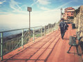 Promenade of Genova Nervi. Retro style. Royalty Free Stock Photo
