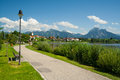 Promenade at the lake Hopfensee Stock Photo
