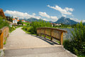 Promenade at the lake Hopfensee Royalty Free Stock Image