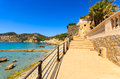 Promenade sea resort beac camp de mar majorca island spain Royalty Free Stock Image