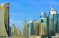 Promenade and skyscrapers in luxury Dubai Marina,United Arab Emirates Royalty Free Stock Photo
