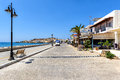 Promenade with tavernas at Paleochora town on Crete island Royalty Free Stock Photo