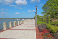 Promenade on the waterfront of Beaufort, South Carolina Royalty Free Stock Photo