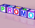 Promo blocks mean special reduced price or off meaning Stock Images
