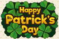 Promoting Design with Clovers for St. Patrick`s Day Celebration, Vector Illustration