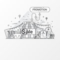 Promotion for sale concept. This set contains icon elements, coupon, discount label, online store, shop, shopping bag, credit card Royalty Free Stock Photo