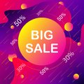 Promotional banners with discount and violet and orange color with white letters