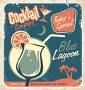 Promotional retro poster design for cocktail bar one of the most popular cocktails blue lagoon vintage with special daily Royalty Free Stock Images