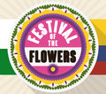 Promotional Silleta over Flags for Colombian Festival of the Flowers, Vector Illustration