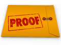 Proof word yellow envelope verification evidence testimony stamped on a containing documents as or in a court case or other Royalty Free Stock Photos