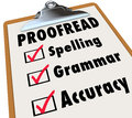Proofread clipboard checklist spelling grammar accuracy and checked boxes next to the words and as the things an editor reviews in Stock Photo