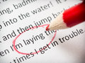Proofreading essay errors mistake with laying and lying Stock Photos
