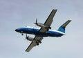 Prop plane landing Royalty Free Stock Photo