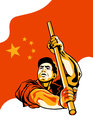 Propaganda poster worker holding china flag Royalty Free Stock Photography