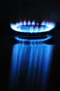 Propane butane gas flame burning stove cooker Royalty Free Stock Images