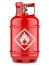 Propane cylinders with compressed gas red isolated on a white background Royalty Free Stock Photo