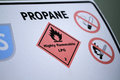 Propane notice and warnings on a bulk storage tank Royalty Free Stock Image