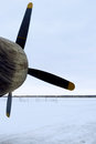 Propeller airplane and engine covered closeup outdoor vertical shot Stock Photos